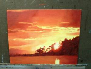 """""""Red Sunset"""" 2015 12""""x16"""" oil on panel"""
