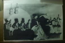 """""""El Jaleo"""" 2013 after JSSargent 12""""x18"""" graphite"""