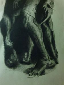 """Burghes of Calais"" 2014 after Rodin 11""x14"" litho crayon"