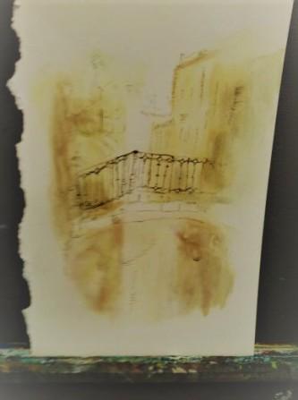 """Bridge in Italy"" 2014 9″X12″ pen & ink watercolor original photograph by Chris DiDomizio"