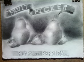 """""""Pears and Berries"""" 2016 11""""x14"""" graphite"""