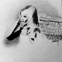 """Portrait sketch of Caiden Finn 2017 6""""x6"""" pen & ink"""