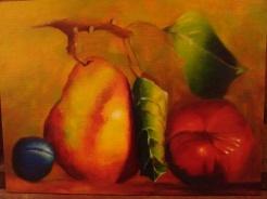 """""""Pear & Plum"""" 2016 12""""x16"""" oil on panel"""