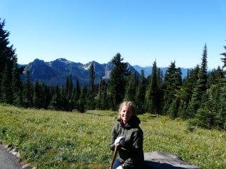 Mt. Rainier with hiking stick