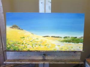 yellow hillside silver easel