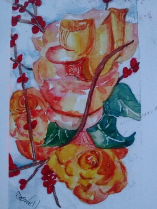 """""""£o, How a Rose"""" Watercolor by Carolyn Caswell"""