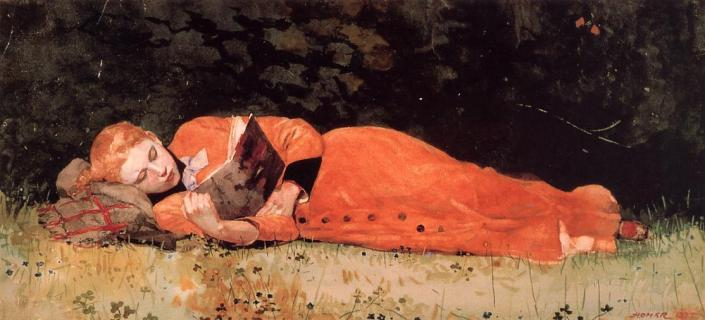 Winslow Homer (1836-1910) The New Novel Watercolor on paper 1877