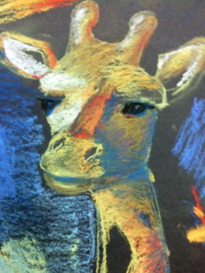 """Giraffe 2014 8""""x10"""" soft pastel"""
