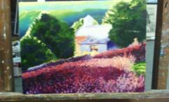 """""""Purple Cottage"""" 2016 12""""x16"""" oil on panel"""