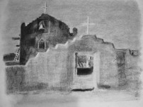 """The New Church, Taos Pueblo, New Mexico after Ansel Adams 
